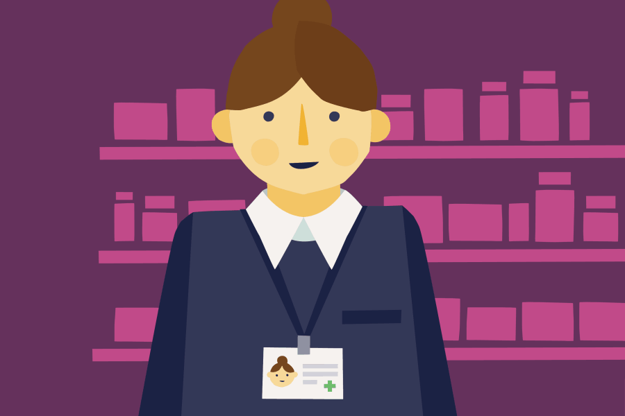 Illustration of a newly-qualified pharmacist